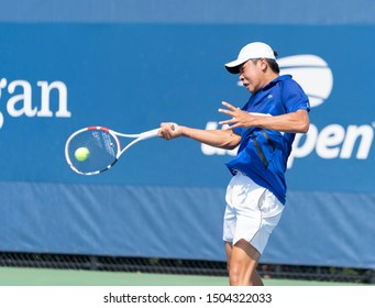 New York, NY - September 4, 2019: Brandon Nakashima (USA) in action during 2nd round of US Open Championship boys juniors against Leandro Riedi (Switzerland) at Billie Jean King National Tennis Center