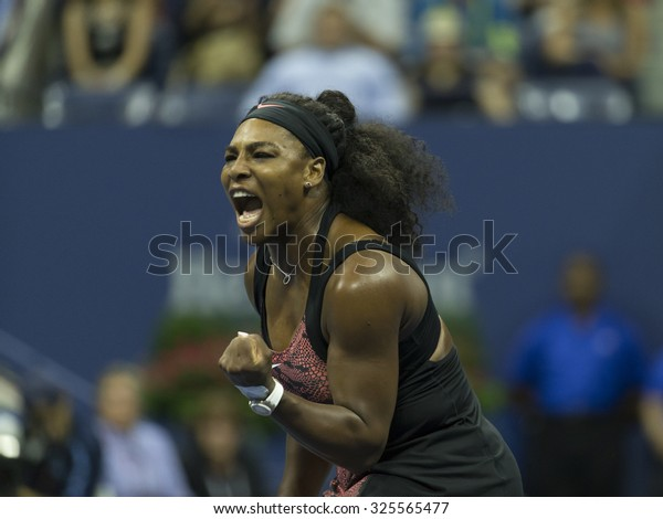 New York, NY - September 4, 2015: Serena Williams of USA reacts during 3rd round match against Bethanie Mattek-Sands of USA at US Open Championship