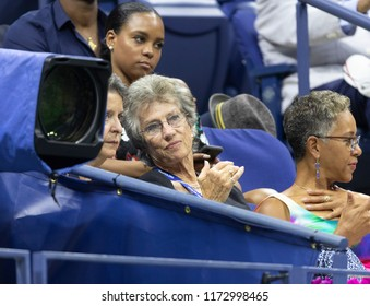 New York, NY - September 5, 2018: Virginia Wade attends US Open 2018 quarterfinal match between Carla Suarez Navarro of Spain & Madison Keys of USA at USTA Billie Jean King National Tennis Center
