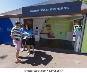 New York, NY - September 5, 2015: General atmosphere in American Express booth on the ground of USTA Billie Jean King Tennis Center at US Open Championship