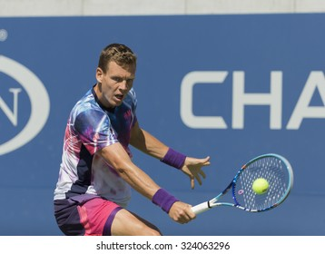 New York, NY - September 5, 2015: Tomas Berdych of Czech Republic retruns ball during 3rd round match against Guillermo Garcia-Lopez of Spain at US Open Championship