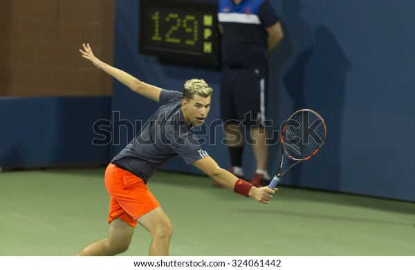 New York, NY - September 5, 2015: Dominic Thiem of Austria returns ball during 3rd round match against Kevin Anderson of South Africa at US Open Championship