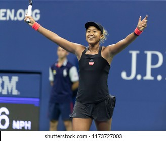 New York, NY - September 6, 2018: Naomi Osaka of Japan celebrate victory in US Open 2018 semifinal match against Madison Keys of USA at USTA Billie Jean King National Tennis Center
