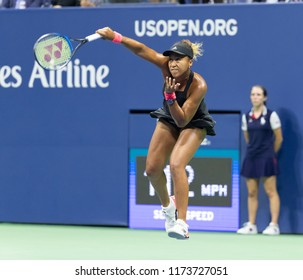 New York, NY - September 6, 2018: Naomi Osaka of Japan serves during US Open 2018 semifinal match against Madison Keys of USA at USTA Billie Jean King National Tennis Center