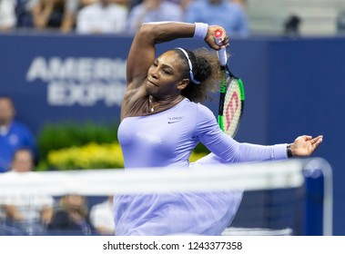 New York, NY - September 6, 2018: Serena Williams of USA returns ball during US Open 2018 semifinal match against Anastasija Sevastova at USTA Billie Jean King National Tennis Center