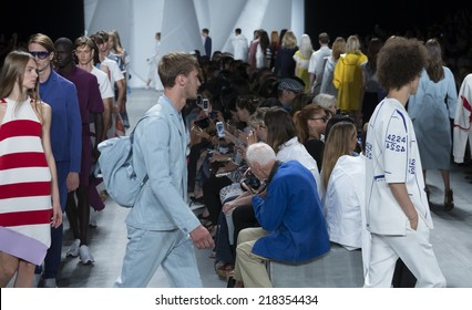 New York, NY - September 6, 2014: Models walk runway for Lacoste collection by Felipe Oliveira Baptista as Bill Cunningham of The New York Times takes pictures at Spring/Summer 2015 Fashion week