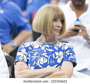 NEW YORK, NY - SEPTEMBER 6, 2014: Anna Wintour attends semifinal match Marin Cilic of Croatia & Roger Federer of Switzerland at US Open championship in Flushing Meadows USTA Tennis Center