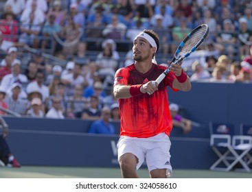 New York, NY - September 6, 2015: Fabio Fognini of Italy returns ball during 4th round match against Feliciano Lopez of Spain at US Open Championship