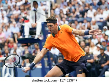 New York, NY - September 7, 2018: Juan Martin del Potro of Argentina returns ball during US Open 2018 semifinal match against Rafael Nadal of Spain at USTA Billie Jean King National Tennis Center