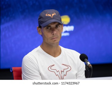 New York, NY - September 7, 2018: Rafael Nadal attend press conference after US Open 2018 semifinal match against Juan Martin del Potro at USTA Billie Jean King National Tennis Center