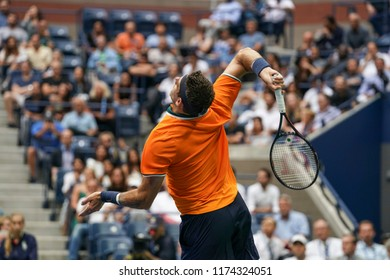 New York, NY - September 7, 2018: Juan Martin del Potro of Argentina serves during US Open 2018 semifinal match against Rafael Nadal of Spain at USTA Billie Jean King National Tennis Center
