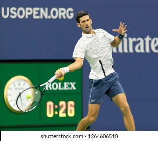 New York, NY - September 7, 2018: Novak Djokovic of Serbia returns ball during US Open 2018 semifinal match against Kei Nishikori of Japan at USTA Billie Jean King National Tennis Center