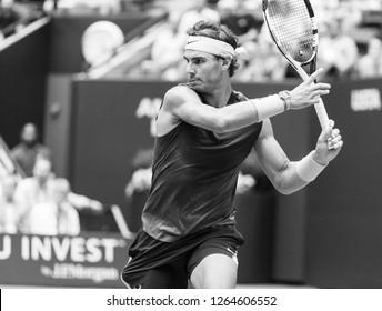 New York, NY - September 7, 2018: Rafael Nadal of Spain returns ball during US Open 2018 semifinal match against Juan Martin del Potro of Argentina at USTA Billie Jean King National Tennis Center