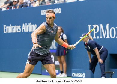 New York, NY - September 7, 2018: Rafael Nadal of Spain returns ball during US Open 2018 semifinal match against Juan Martin del Potro of Argentina at USTA Billie Jean King National Tennis Center