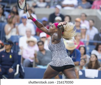 NEW YORK, NY - SEPTEMBER 7, 2014: Serena WIlliams of USA returns ball during final match against Caroline Wozniacki of Denmark at US Open championship in Flushing Meadows USTA Tennis Center