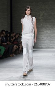 New York, NY - September 7, 2014: Model walks runway for Park Choonmoo collection at Spring/Summer 2015 Fashion week in Lincoln Center