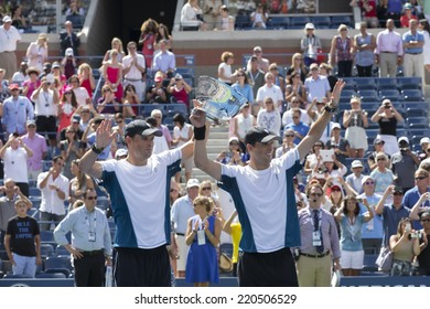 NEW YORK, NY - SEPTEMBER 7, 2014: Bryan brothers of USA celebrates winning men doubles championship at US Open championship in Flushing Meadows USTA Tennis Center