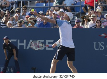New York, NY - September 7, 2015: Kevin Andreson of South Africa serves during 4th round match against Andy Murray of Great Britain at US Open Championship