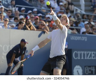 New York, NY - September 7, 2015: Andy Murray of Great Britain serves during 4th round match against Kevin Andreson of South Africa at US Open Championship
