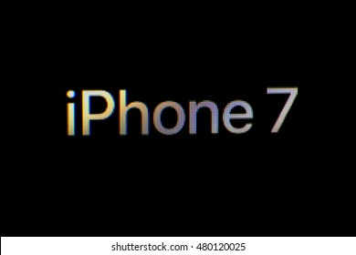 NEW YORK, NY - SEPTEMBER 7th, 2016: Apple website iphone 7 logo macro picture pixels showing launch announcement for new iPhone 7 with wireless AirPods