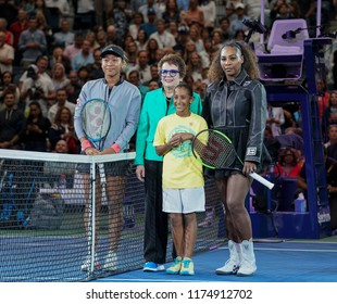 New York, NY - September 8, 2018: Naomi Osaka of Japan, Serena Williams of USA, Billie Jean King pose before women's single final of US Open 2018 at USTA Billie Jean King National Tennis Center