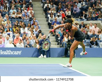 New York, NY - September 8, 2018: Naomi Osaka of Japan serves during women's single final of US Open 2018 against Serena Williams of USA at USTA Billie Jean King National Tennis Center