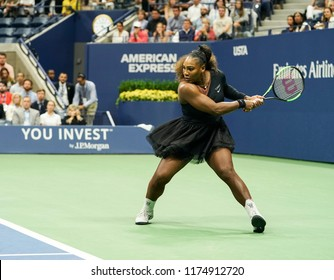 New York, NY - September 8, 2018: Serena Williams of USA returns ball during women's single final of US Open 2018 against Naomi Osaka of Japan at USTA Billie Jean King National Tennis Center