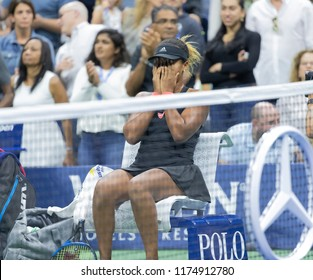 New York, NY - September 8, 2018: Naomi Osaka of Japan reacts after winning women's single final of US Open 2018 at USTA Billie Jean King National Tennis Center