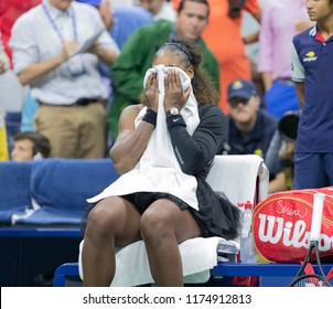 New York, NY - September 8, 2018: Serena Williams of USA reacts after loosing women's single final to Naomi Osaka of Japan at USTA Billie Jean King National Tennis Center