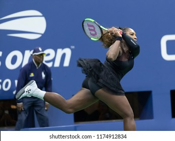 New York, NY - September 8, 2018: Serena Williams of USA returns ball during US Open 2018 women's single final against Naomi Osaka of Japan at USTA Billie Jean King National Tennis Center