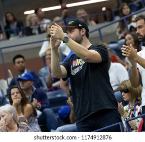 New York, NY - September 8, 2018: Alexis Ohanian cheers Serena Williams of USA during US Open 2018 women's single final against Naomi Osaka of Japan at USTA Billie Jean King National Tennis Center