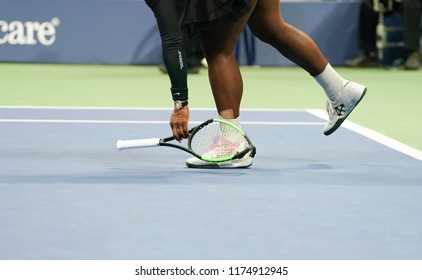 New York, NY - September 8, 2018: Serena Williams of USA smashed racquet during women's single final of US Open 2018 against Naomi Osaka of Japan at USTA Billie Jean King National Tennis Center