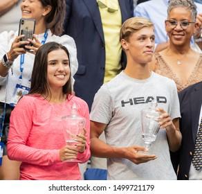 New York, NY - September 8, 2019: Juniors champs Maria Camila Osorio Serrano, Jonas Forejtek attend US Open mens final between Rafael Nadal (Spain) & Daniil Medvedev (Russia) at Tennis Center