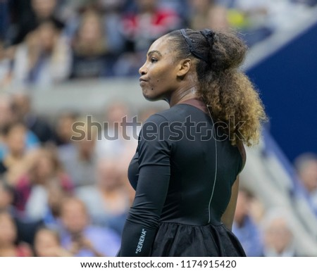 New York, NY - September 8, 2018: Serena Williams of USA reacts after receiving code violation during women's single final of US Open against Naomi Osaka of Japan at USTA National Tennis Center