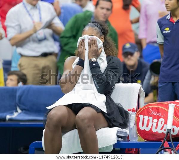 New York, NY - September 8, 2018: Serena Williams of USA reacts after loosing women's single final to Naomi Osaka of Japan at USTA Billie Jean King National Tennis Center