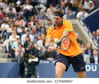New York, NY - September 9, 2018: Juan Martin del Potro of Argentina returns ball during men's single final of US Open 2018 Novak Djokovic of Serbia at USTA Billie Jean King National Tennis Center