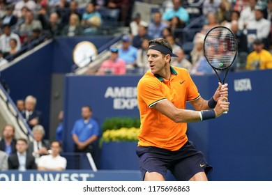 New York, NY - September 9, 2018: Juan Martin del Potro of Argentina returns ball during men's single final of US Open 2018 Novak Djokovic of Serbia at USTA Billie Jean King National Tennis Center