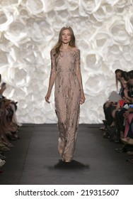 New York, NY - September 9, 2014: Model walks runway for Naeem Khan collection at Spring/Summer 2015 Fashion week in Lincoln Center
