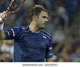 New York, NY - September 9, 2015: Stan Wawrinka of Switzerland reacts during quarterfinal against Kevin Anderson of South Africa at US Open Championship