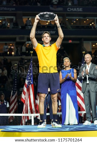 New York, NY - September 9, 2018: Juan Martin del Potro of Argentina holds runner-up trophy after men's single final of US Open 2018 against Novak Djokovic of Serbia at USTA National Tennis Center