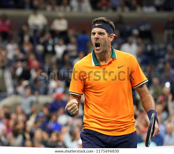 New York, NY - September 9, 2018: Juan Martin del Potro of Argentina reacts during men's single final of US Open 2018 Novak Djokovic of Serbia at USTA Billie Jean King National Tennis Center