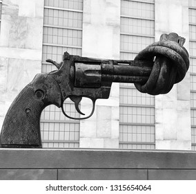"New York, NY, United Nations Building - February 7, 2017: ""Nonviolence"" (""knotted gun"") sculpture (black and white) by Carl Fredrik Reuterswärd"