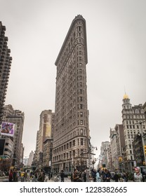 New York, NY / United States- March 28, 2016: The Flatiron Building - Broadway & 23rd Street