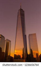 New York, NY / United States - November 17, 2017: Sunset at One World Trade Center in lower Manhattan/