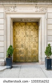 New York, NY / United States - Mar. 8, 2019: Vertical view of the decorative doors of Gotham Hall in Manhattan