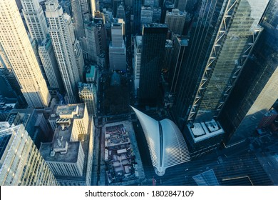 New York, NY / United States - May 2 2020: Looking down from a skyscraper to Manhattan buildings and streets in financial district of Manhattan in New York City