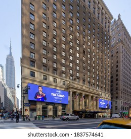 New York, NY / United States - Oct. 14, 2020: a wide angle view the historic Hotel Pennsylvania during Covid-19