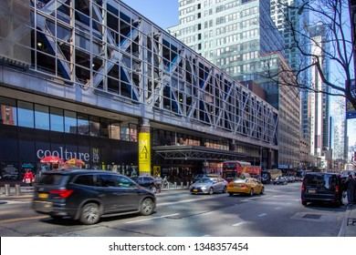 New York, NY / United States-Mar. 24, 2019: Landscape view of Port Authority Bus Terminal in Manhattan