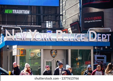 New York, NY / USA - 03/10/2019: New York NYPD Police building on Times Square