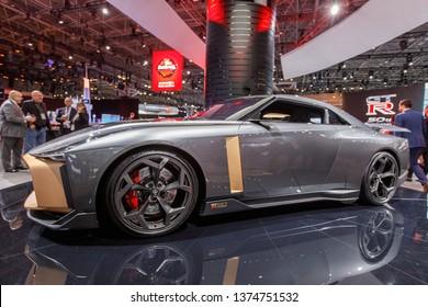 New York, NY / USA - 04 17 2019: International New York Auto Show 2019, Jacob Javits center, Nissan GTR, Concept car